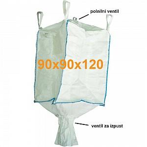 Big Bag Jumbo vreča zgoraj polnilni ventil in spodaj izpustni ventil 90x90x120 cm
