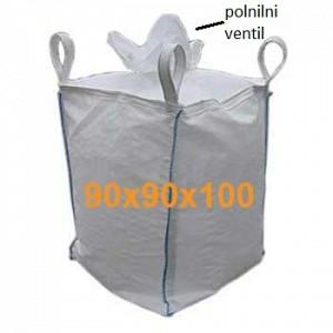 Big Bag Jumbo vreča-polnilni ventil zgoraj, ravno zaprto dno 90x90x100 cm
