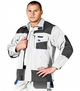 Delovna jakna Formen bela/siva/modra