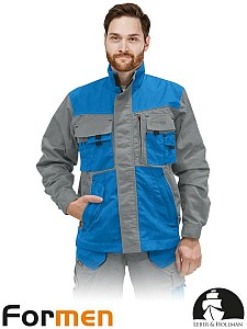 Delovna jakna Formen siva/svetlo modra/črna