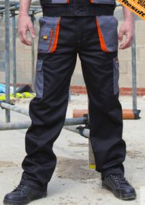 Delovne hlače Lite Result črne/oranžne/sive
